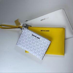 Michael Kors 3 pcs Wristlet trio Set Citrus Yellow